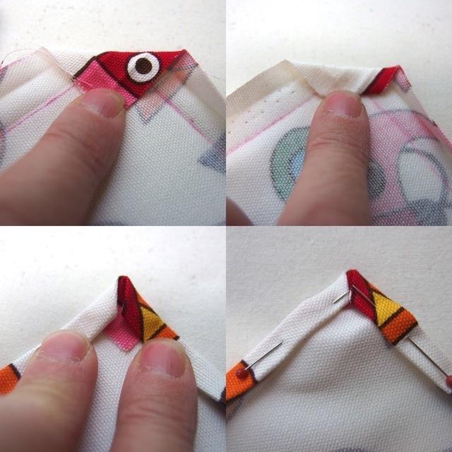 【2】アイロンで三つ折り・額縁作り,ランチョンマット,作り方,