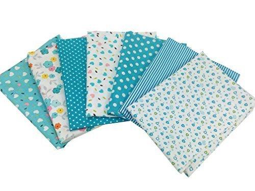 花柄 綿混紡 生地 DIY手芸用 カットクロス パッチワーク布 はぎれ 50×50cm 7枚セット (ブルー),ランチョンマット,作り方,