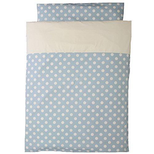 洗えるお昼寝布団 5点セット 日本製 ポルカドット 園児用敷布団 ブラウンバッグ (スカイブルー),保育園,布団,