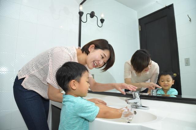 親子で手洗い,手洗い,うがい,子供