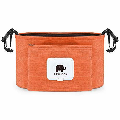 Felimoa ベビーカー用バック おしりふきケース付き ドリンクホルダー 大容量 多機能 オーガナイザー (オレンジ),ベビーカー,バッグ,