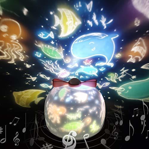 「令和元年最新版」スタープロジェクターライト 星空ライト スターナイトライト SYOSIN 360度回転ライト 6種類投影映画フィルム ベッドサイドランプ 海プロジェクター プラネタリウム 常夜灯 ロマンチック雰囲気作り USB充電式 お子さん・彼女にプレゼント 誕生日ギフト (ホワイト),コズレ,プレゼント,当選