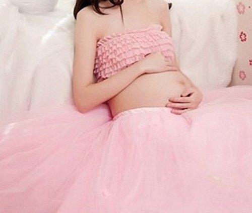 マタニティ フォト ドレス 各色 花かんむり と シール 付き 3点セット 衣装 写真 撮影 (4.ピンク, マタニティ),マタニティフォト,衣装,