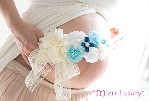 マタニティフォト 幸せのマタニティサッシュリボンベルト 全4色 フリーサイズ 「ママを選んでくれてありがとう」 アクア アイボリー/妊婦 臨月 ウェディング ブライダル 記念撮影 写真 きょうだい 姉妹 プレママ パパ ファミリー ベビー 花 飾り お腹 神聖 母 レース サテン (micia luxury),マタニティフォト,衣装,