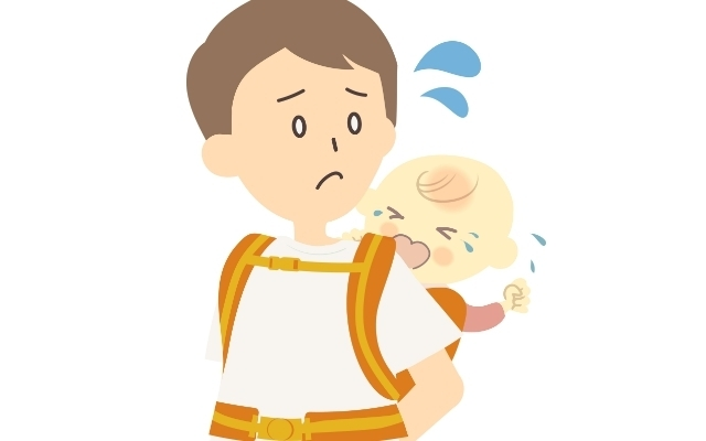 泣く赤ちゃんと困るパパ,抱っこひも,
