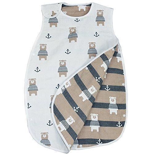LILY CUPS 6重 スリーパー 冬 スリーパー キッズ スリーパー ガーゼ 出産祝い (新生児~3歳頃) (0-3歳, 熊),スリーパー,夏,