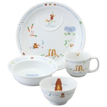 NARUMI(ナルミ) 子ども用 食器セット みんなでたべよっ! 4点セット 電子レンジ オーブン対応 日本製 40433-33139,ベビー食器,おすすめ,