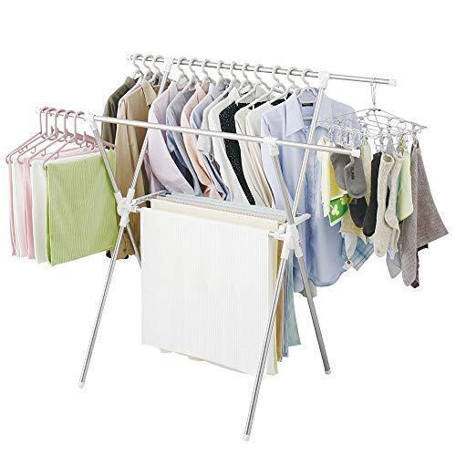 アイリスオーヤマ 洗濯物干し 布団干し 室内物干し 約5人用 簡単組み立て室内物干し ステンレス 伸縮タイプ 折りたためる 幅92~162㎝ CMB-92XR,花粉症,子ども,