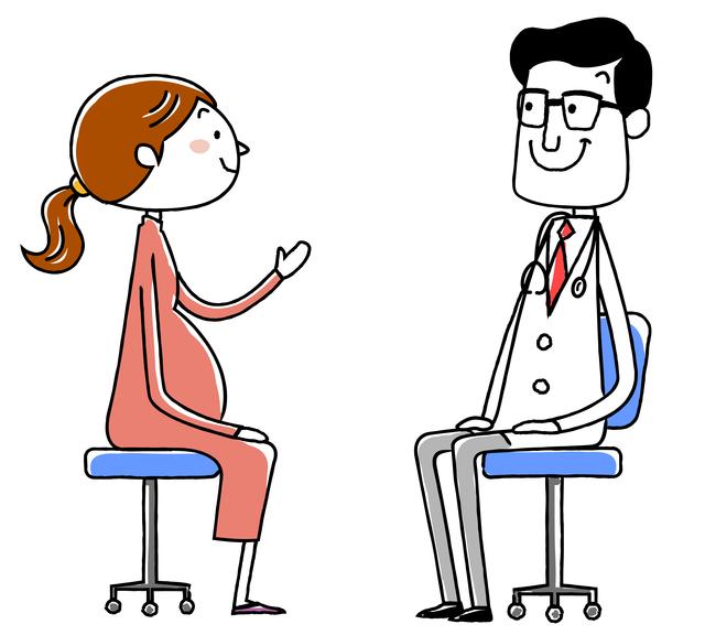 産婦人科の医師と妊婦さん,妊娠18週,赤ちゃん,