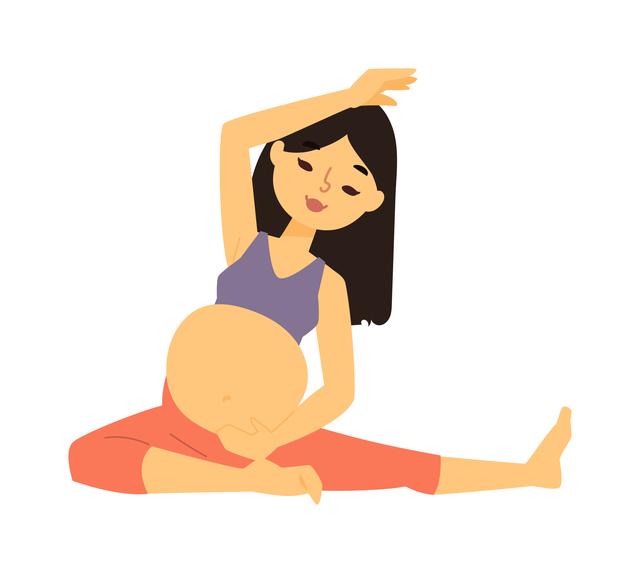 マタニティスポーツをする妊婦さん,妊娠23週,胎動,