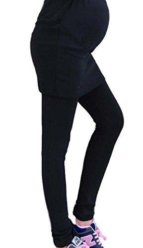 ミコプエラ(Micopuella) 選べる 3色 マタニティ スカート 付き レギンス パンツ 妊婦 (ウエスト 調整機能) (ブラック M),マタニティ,レギンス,