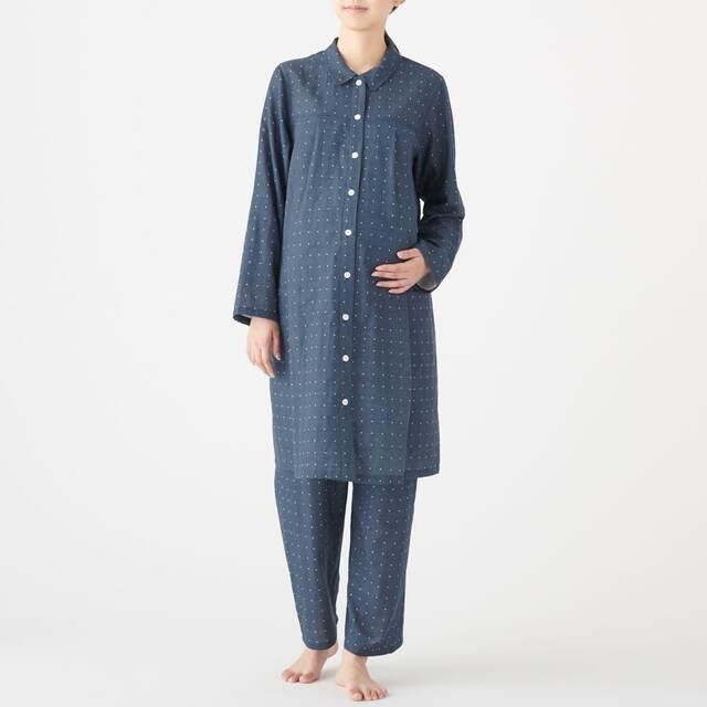 脇に縫い目のない二重ガーゼ長袖パジャマ マタニティ|無印良品,マタニティパジャマ,パジャマ,