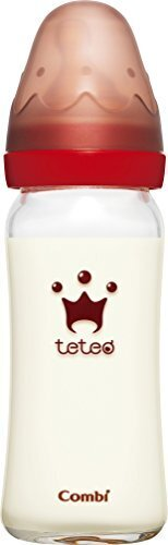 コンビ Combi テテオ teteo 授乳のお手本 哺乳びん耐熱ガラス製 240ml Mサイズ乳首付 (2・3ヵ月~18ヵ月まで) 4段階流量調節機能付き,哺乳瓶,