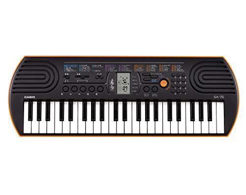 CASIO 44ミニ鍵盤 電子キーボード SA-76 ブラック&オレンジ,クリスマス,おもちゃ,定番