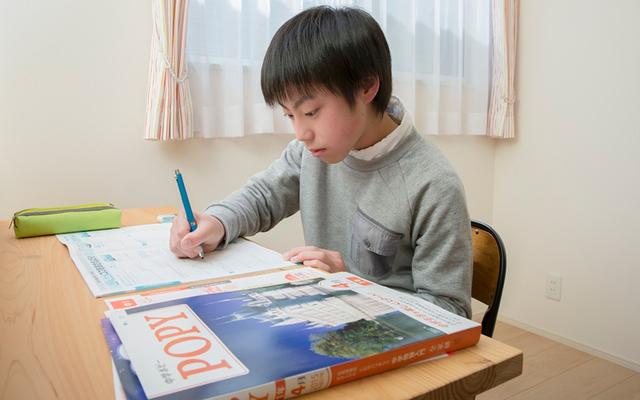 ポピーで勉強する小学生,子ども,学習,