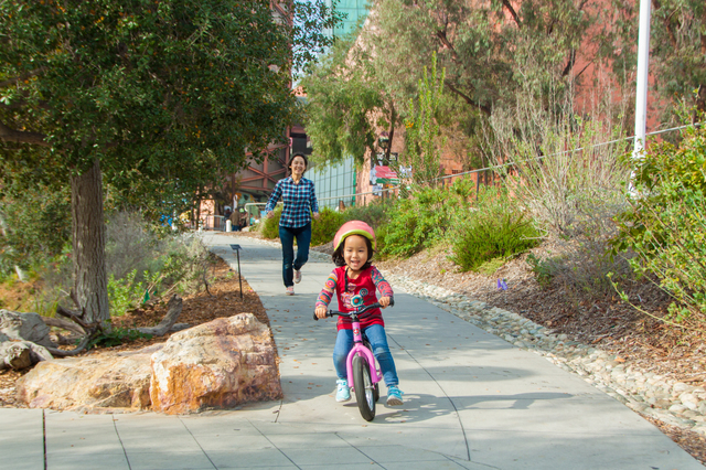 ストライダーで遊ぶ親子,ペダルなし,自転車,