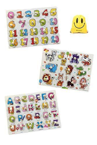 B.H. Select 型あわせ パズル 3枚セット 数字 アルファベット 野菜 くだもの 動物 のりもの パズル かたはめ 木のおもちゃ かわいい スマイル おかたづけ袋 セット 知育玩具 図形認識力 を育む JOY@Shape Puzzle (Bセット(数字・アルファベット) BH104-2,1歳,おもちゃ,