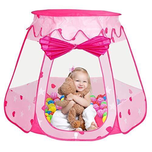 Iiomise 子供 キッズテント ボールハウス おもちゃ 知育玩具 折りたたみ式  アウトドアも室内 (ピンク) 収納  誕生日 ゲーム,1歳,おもちゃ,
