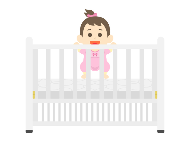 柵があるベビーベッド,ベビーベッド,出産準備,赤ちゃん