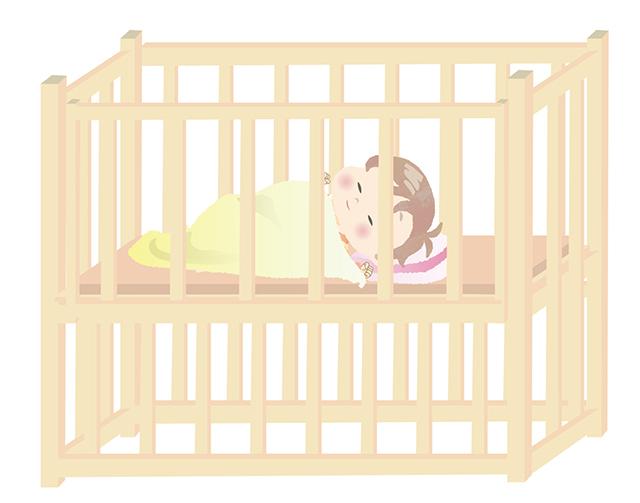 ベビーベッドで寝る赤ちゃん,ベビーベッド,出産準備,赤ちゃん