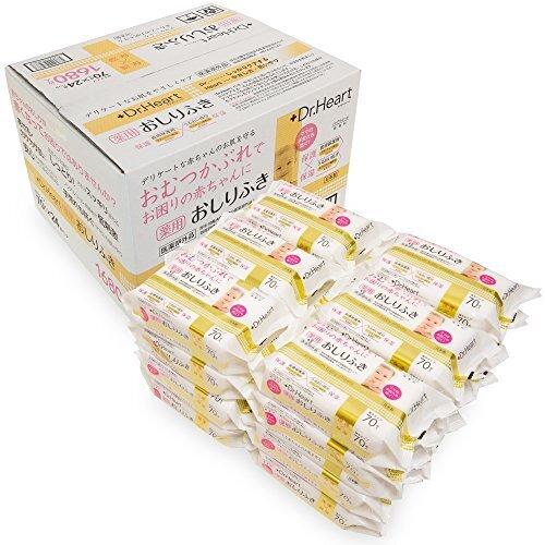 【Amazon.co.jp限定】Dr.Heart [薬用 赤ちゃんのおしりふき] 1,680枚 (70枚入×24パック) 日本製 医薬 医薬部外品《赤くなったお肌に》,赤ちゃん,おむつかぶれ,対策