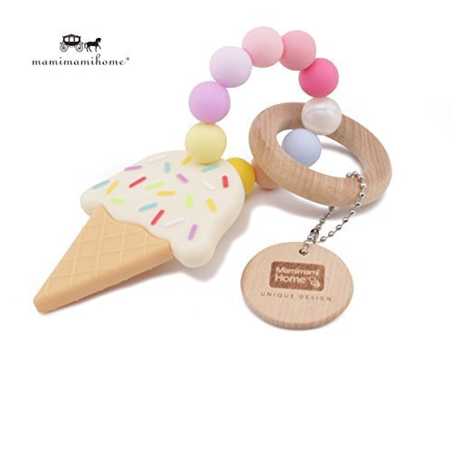 Mamimami Home おしゃれな歯固め シリコーンアイスクリーム ガラガラ 木製リング 赤ちゃんの噛がため おしゃぶり おもちゃ 新生児贈り物,コズレ,プレゼント,当選