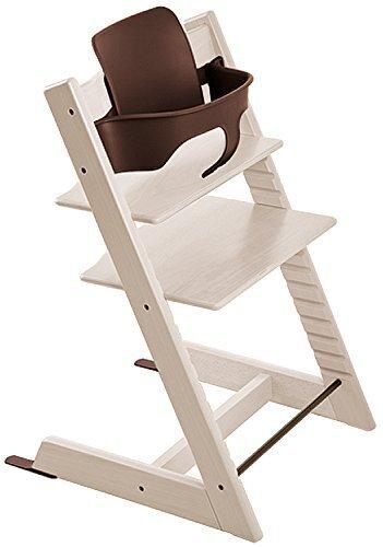 STOKKE ストッケ トリップトラップ チェアセット チェア:ホワイトウォッシュ ベビーセット:ウォールナット 【2個口】,離乳食,椅子,