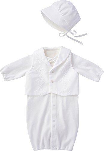 犬印本舗 INUJIRUSHI Baby 日本製 ベスト付ドレス&カバーオール 50cm - 60cm ホワイト B246008,ベビー,セレモニードレス,