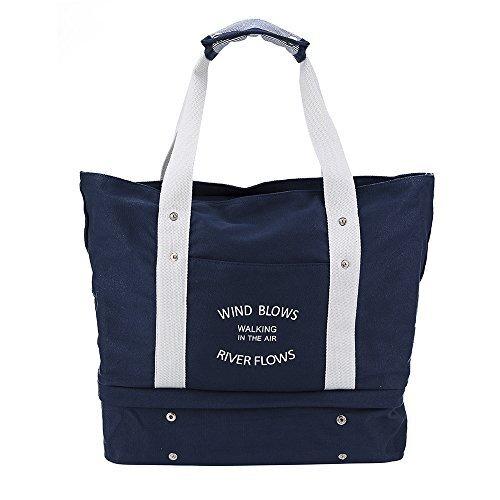 多機能旅行バッグ 特大サイズ シューズ収納 スーツケースの持ち手に通せるマザーズバッグ トートバッグ 56*18*40 cm J-dragon (ネイビー),ママバッグ,人気,