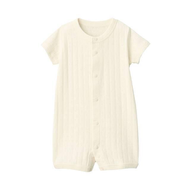 無染色透かし柄半袖ショートオール 新生児60・生成,ベビー服,ブランド,