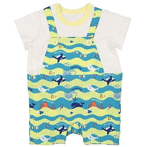 【子供服】 moujonjon (ムージョンジョン) 海の生き物柄サロペットロンパース・Tオール 70cm,80cm M32744,ベビー服,ブランド,