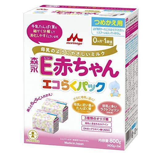 森永 E赤ちゃん エコらくパック つめかえ用 800g(400g×2袋) [0ヶ月~1歳 入れかえタイプ 粉ミルク ラクトフェリン 3種類のオリゴ糖],粉ミルク,口コミ,