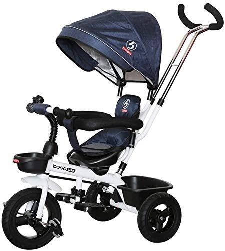 boso 子供三輪車 回転式 一台四役 幼児用トライク9ヶ月から6歳まで使える ノーパンクタイヤ 手押し棒付き サンシェード お出かけ 乗用玩具 プレゼントに最適 (ブルー),三輪車,1歳,