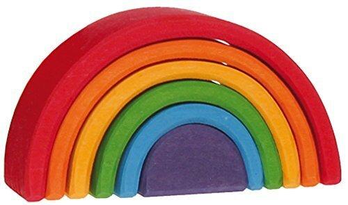 グリムGRIMM'S 玩具 おもちゃ 知育玩具 積み木 インテリア 見立て遊び 虹 レインボー 高さ5.5×幅10.5×奥行4cm 虹色トンネル 小,積み木,知育,遊び方