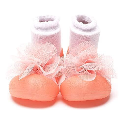 Attipas [ アティパス ] ベビーシューズ/ 滑り止め 公園遊び 出産祝い プレゼント あんよの練習 保育園靴 かわいいソックスシューズ プレシューズ 室内外両用 女の子 男の子 コサージュ(Corsage) ピンク(Pink),ファーストシューズ,