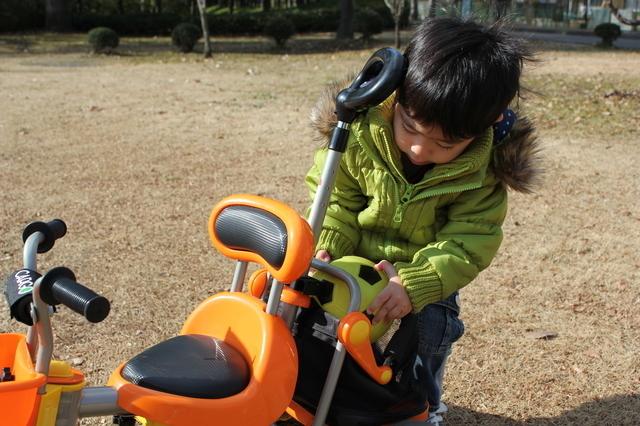 三輪車のかごにボールをしまう男の子,赤ちゃん,三輪車,