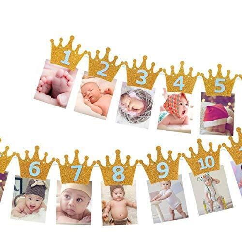 Kingsie ガーランド 誕生日 バナー クラウン キラキラ 写真クリップ 1歳 12月 誕生日飾り 壁飾り パーテイ飾り (ゴールド&ブルー),1歳,誕生日,飾り付け