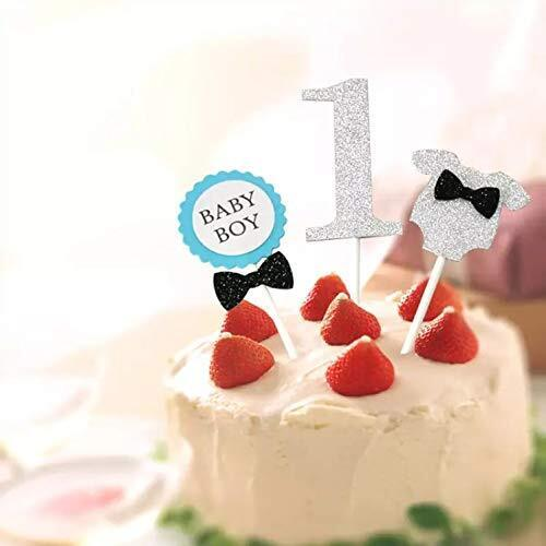 Limpomme ファーストバースデー トッパーセット 3点セット オリジナルパッケージ ケーキ デコレーション 1才 1歳 一才 一歳 誕生日 記念撮影 (ブルー),1歳,誕生日,飾り付け