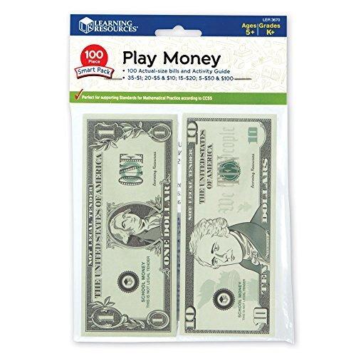 Learning Resources Play Money Smart Pack 【英語玩具 お金 ドル】 アメリカ通貨 紙幣ミニセット(100枚入り) 正規品,おもちゃ,お金,