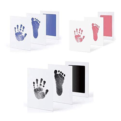 Janday 赤ちゃん 手形 足形キット 汚れないインク ベビーフレーム 3色 ギフト 出産祝い 成長記録 新生児 1歳誕生日 猫犬手足型 記念品,命名式,