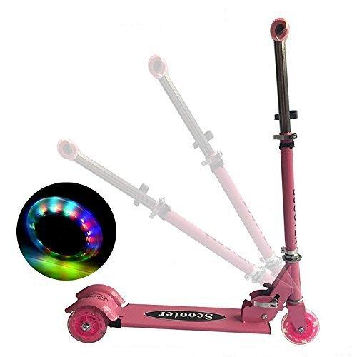 Sanato 3輪式キックスクーター こども キックボード 光るタイヤ 3段階調節可 折りたたみ式 ピンク,キックボード,子供,