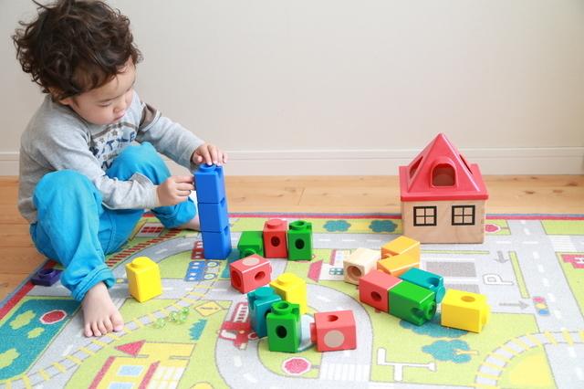 ブロックで遊ぶ男の子,おもちゃ,2歳,