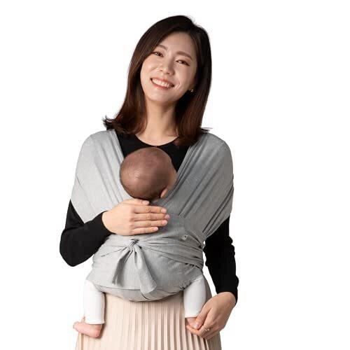 【ママリ口コミ大賞受賞】コニー抱っこ紐 (Konny) スリング 新生児から20kg 収納袋付き 国際安全認証取得 ぐっすり抱っこひも (グレー) (M),抱っこ紐,おすすめ,