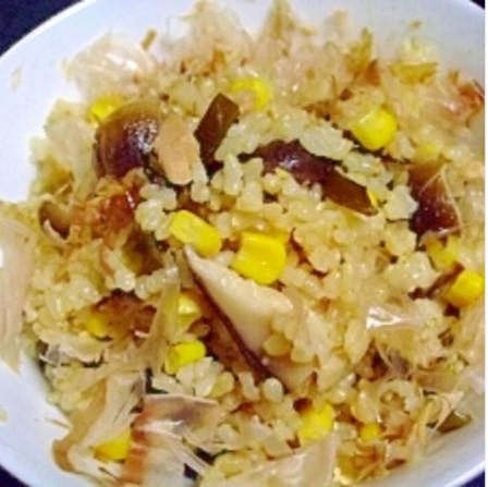 梅風味ёツナ缶で きのことコーンの炊き込みご飯,秋,妊婦,レシピ