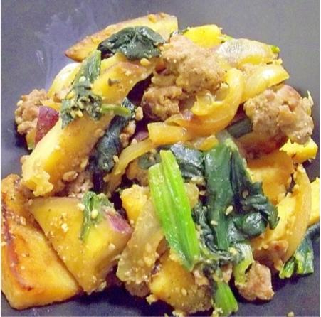 鉄分&食物繊維*さつま芋とほうれん草の豚味噌炒め,秋,妊婦,レシピ