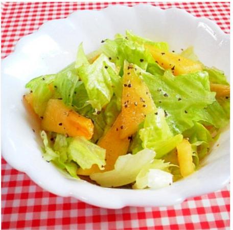 簡単ジューシー!レタスと柿のサラダ,秋,妊婦,レシピ