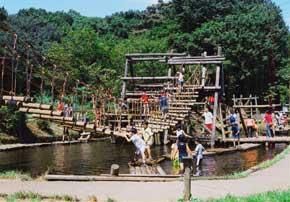 「神奈川」の中にある「横浜市つくし野」の水の上にあるアスレチック遊具の様子③