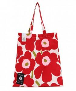子どもとお出かけするママにのための赤いトートバッグの画像