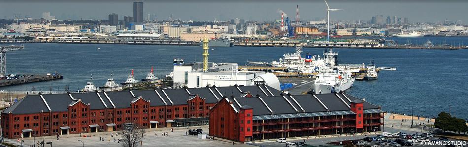 赤レンガ倉庫は横浜の赤レンガパークの一部という俯瞰画像