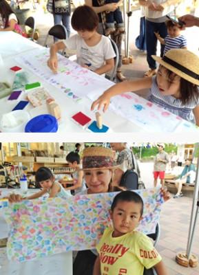 フェスで行われるワークショップを楽しむ家族の画像